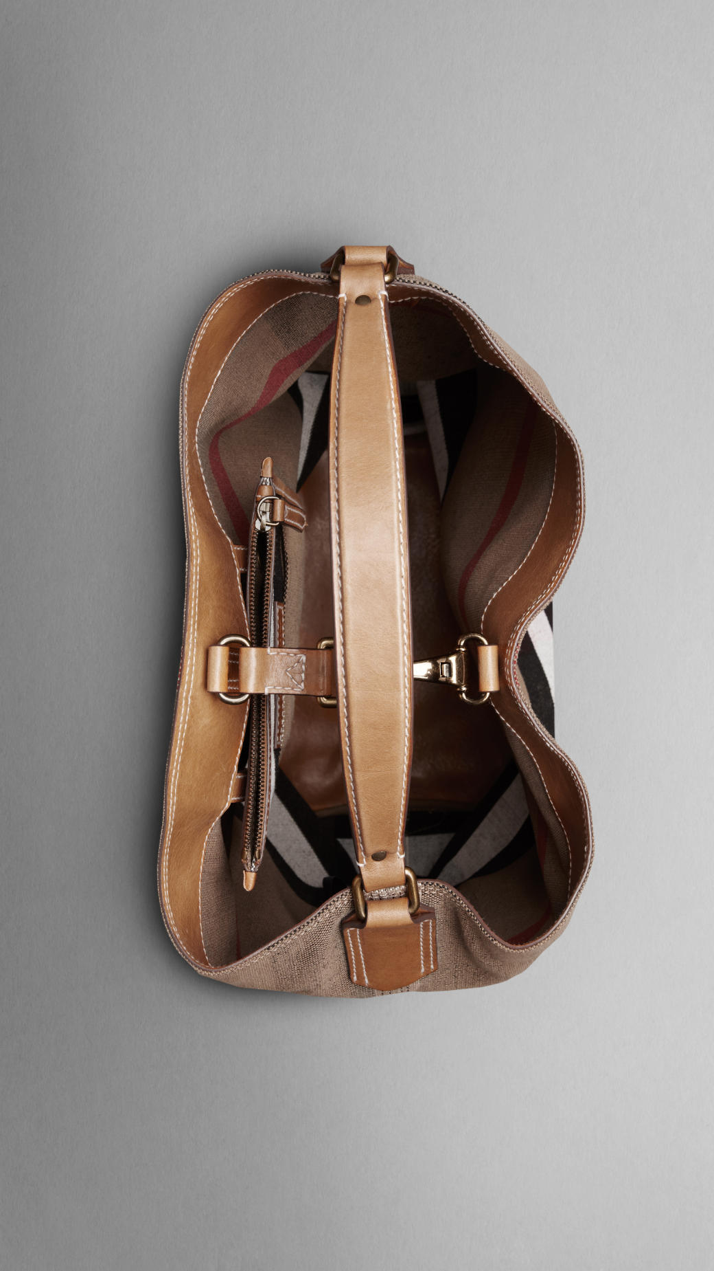 5cef4a89bed Burberry Large Check Cotton Canvas Hobo Bag in Brown - Lyst