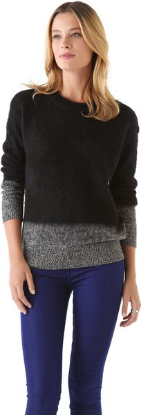 DKNY Tweeded Trim Crew Neck Sweater - Lyst