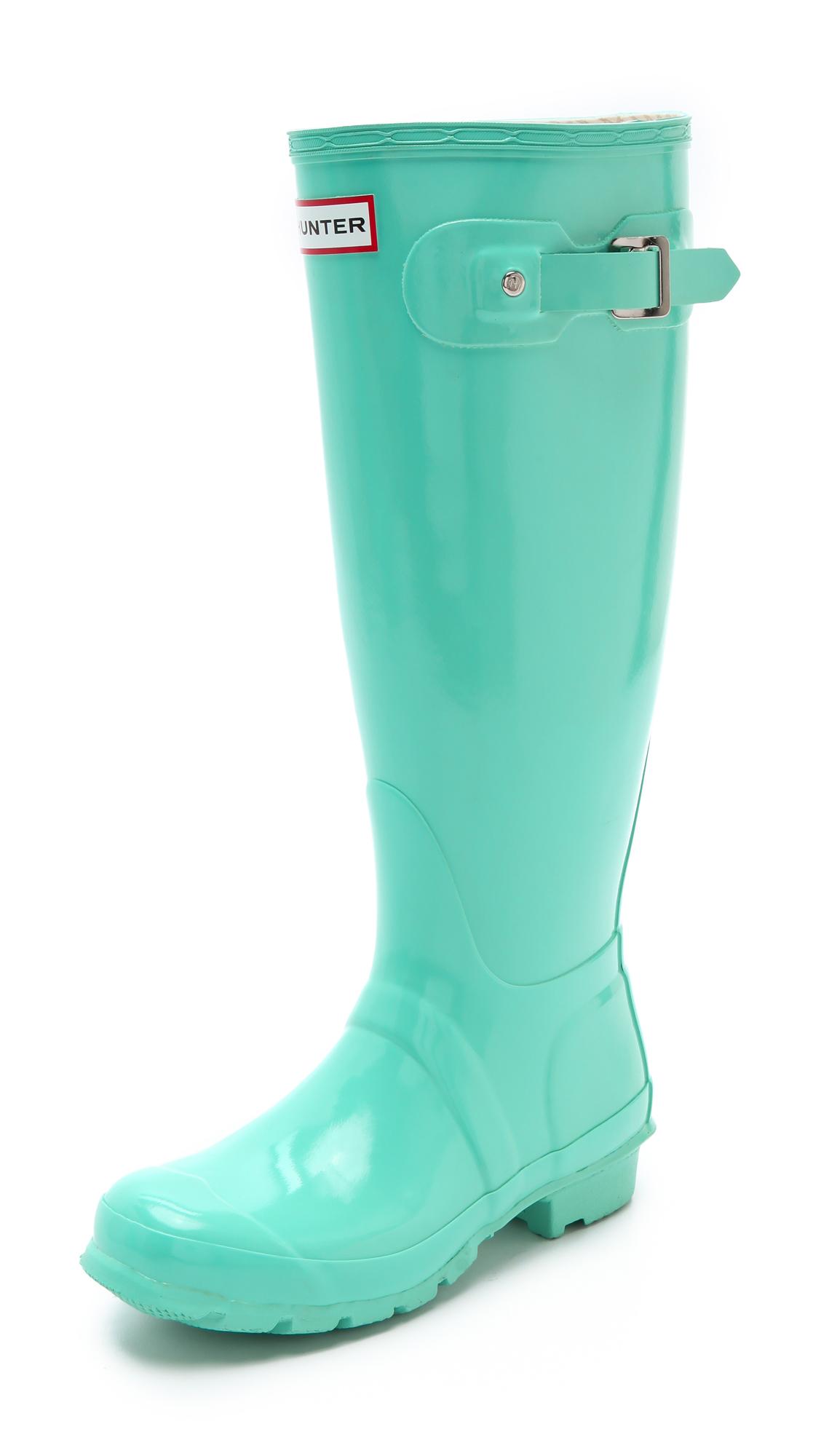 Hunter Hunter Gloss Rain Boots in Green Lyst