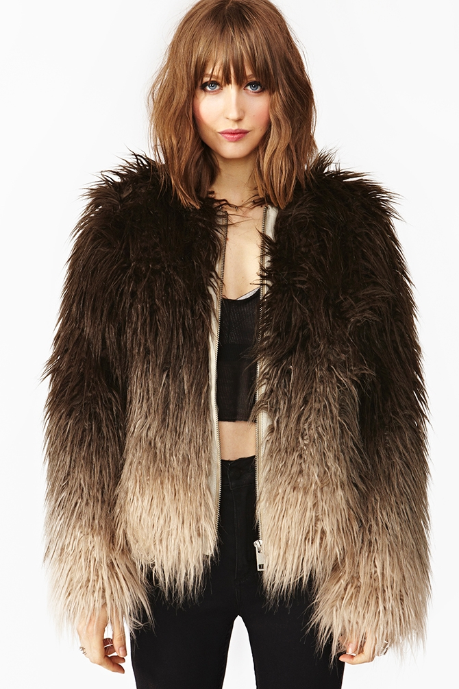 lyst nasty gal dip dye faux fur jacket in black