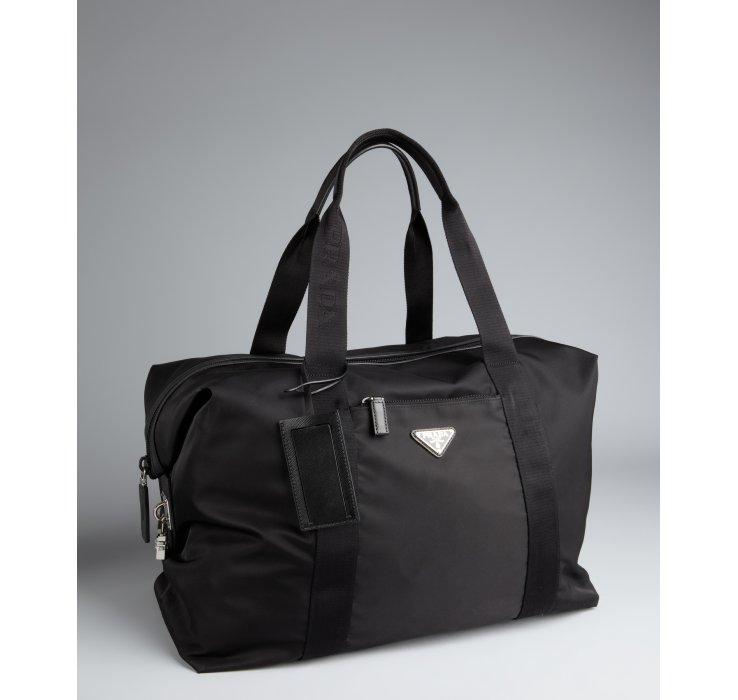cbdd393d8717 ... low price lyst prada black nylon weekend bag in black for men dddf7  e2092