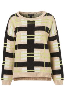 Topshop Knitted Graphic Check Jumper - Lyst