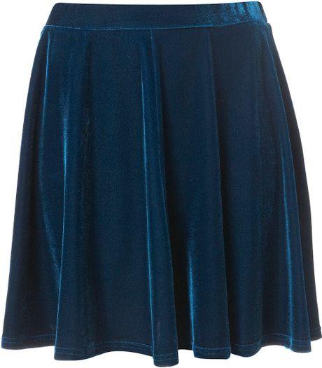 topshop teal velvet skater skirt in blue teal lyst