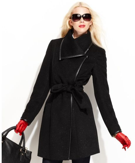 Vince Camuto Asymmetrical Collar Belted Trench Coat in Black