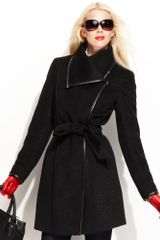 Vince Camuto Asymmetrical Collar Belted Trench Coat in Black - Lyst