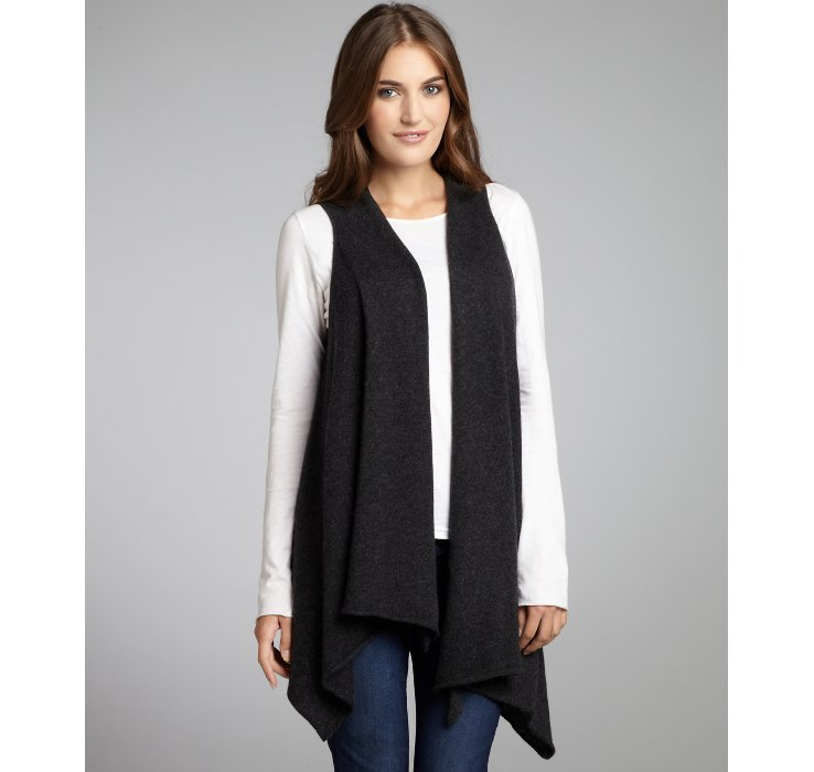 Alice   olivia Charcoal Cashmere Miley Draped Sleeveless Cardigan ...