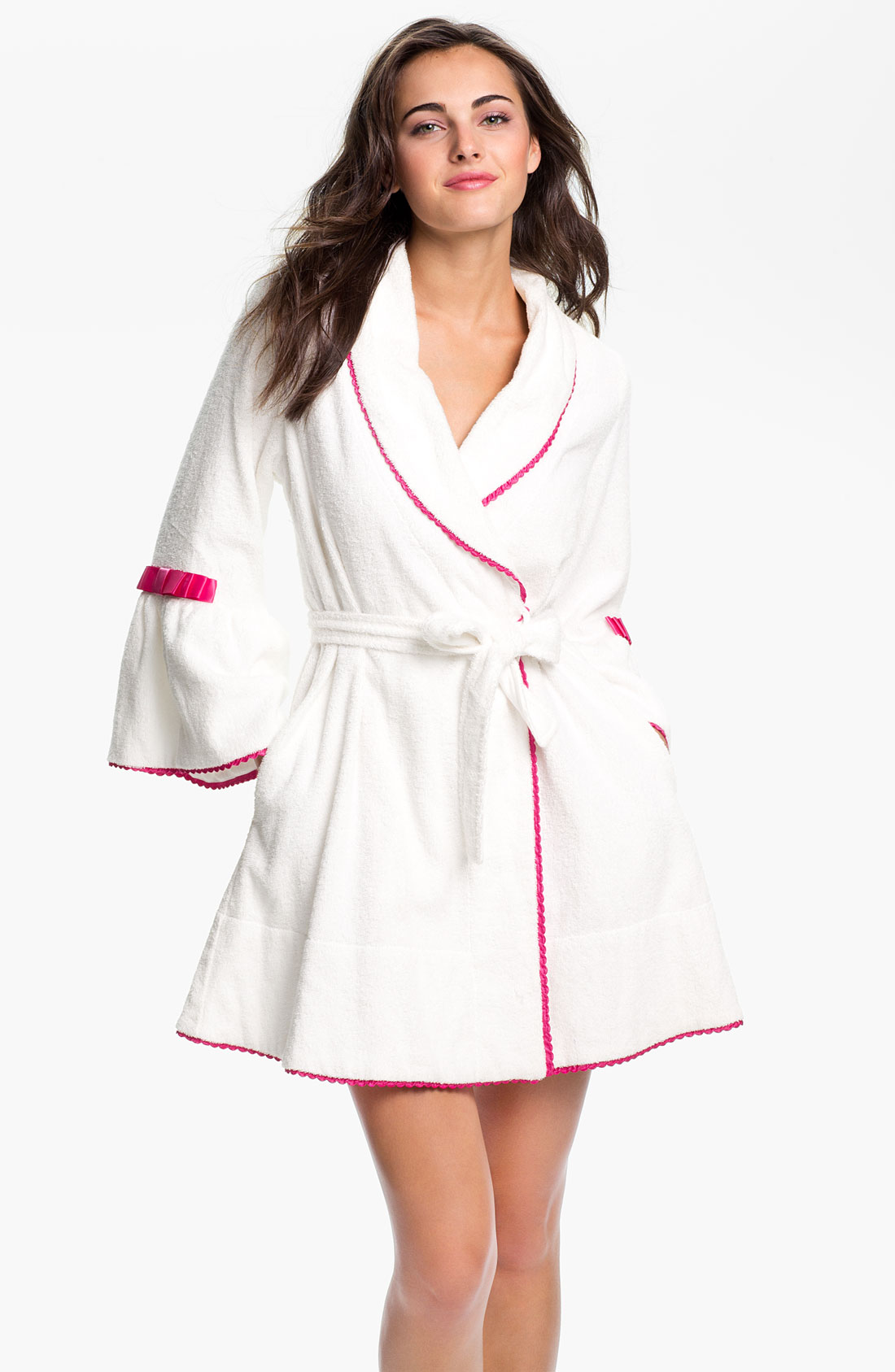 Betsey johnson minnie terry robe in white lyst for Robes de mariage de betsey johnson