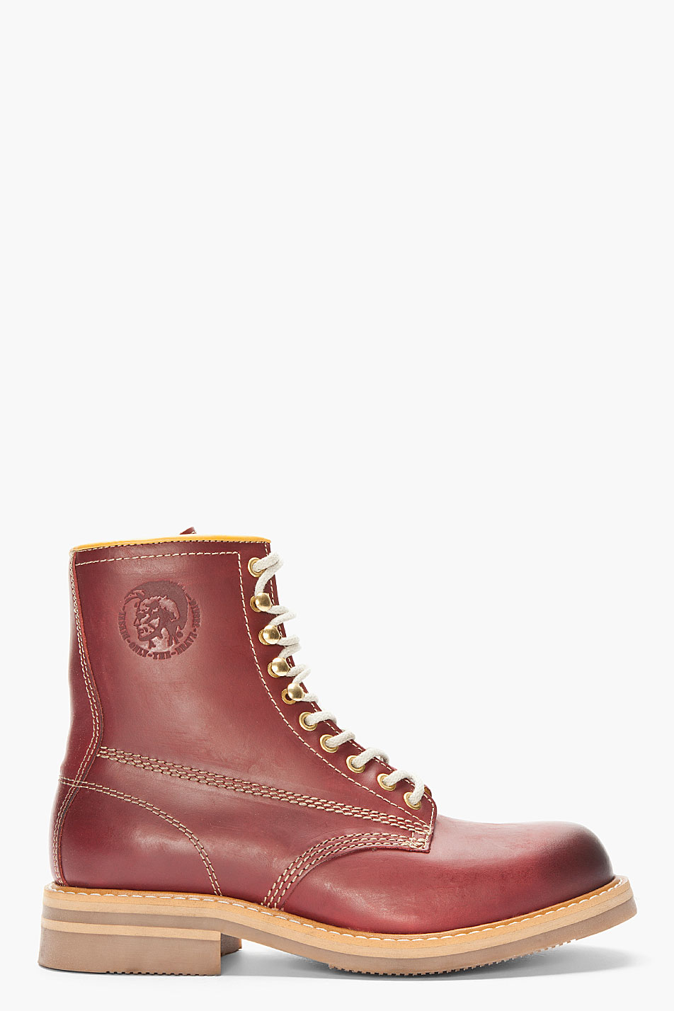 Diesel Burgundy Leather Skillo Boots In Red For Men Lyst