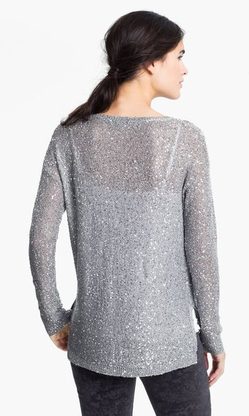 Dkny Sequin Sweater In Silver Lyst