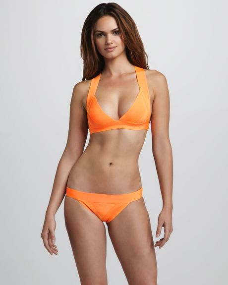 Herv 233 L 233 Ger Neon Crossback Bandage Bikini In Orange Neon