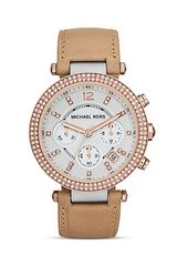 Michael Kors Vachetta Leather Multi Tone Parker Glitz Watch 39mm - Lyst