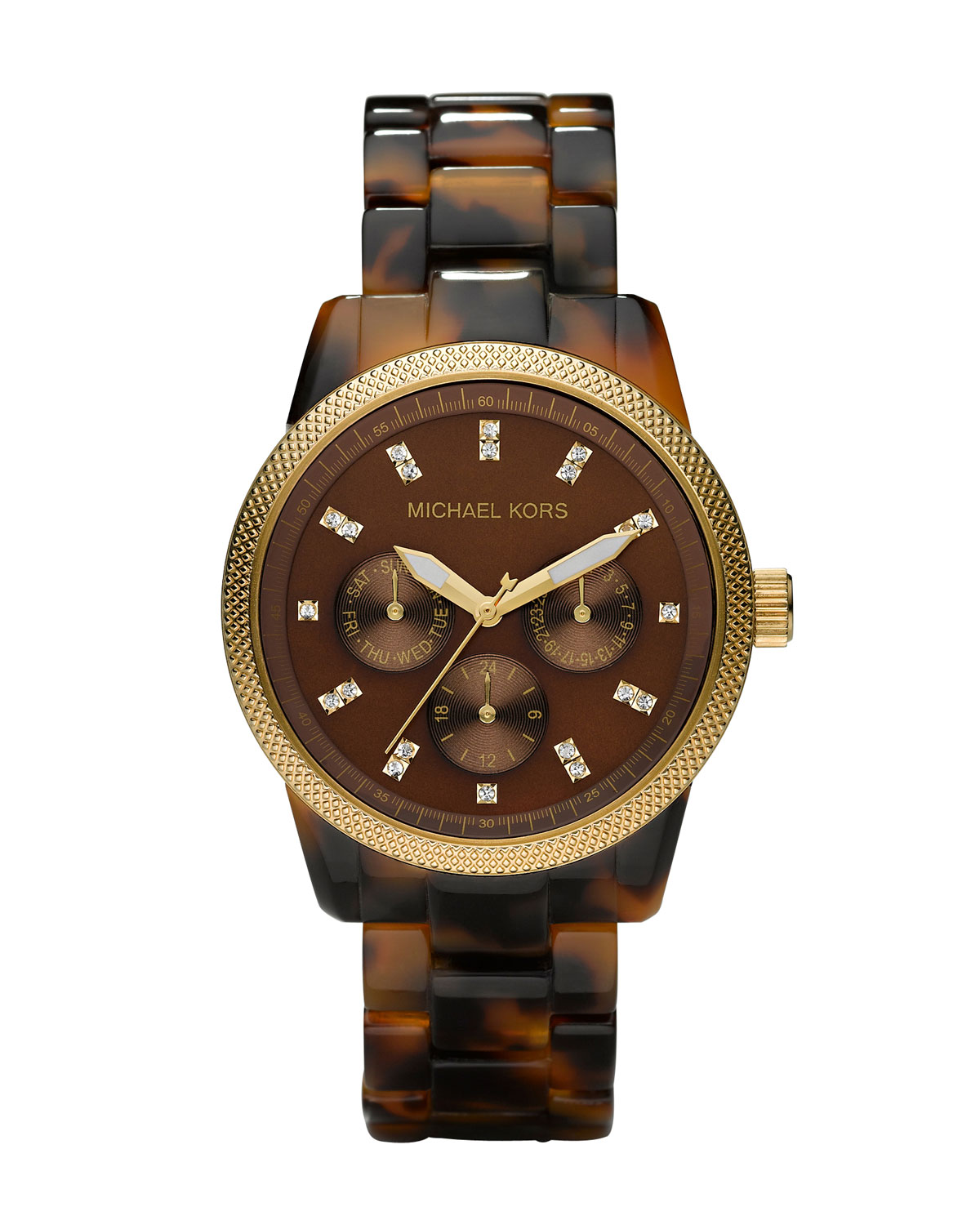 Michael michael kors tortoise jet set watch in brown tortoise lyst for Watches michael kors