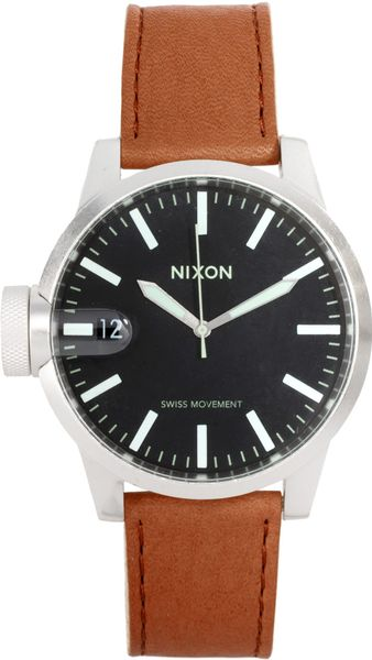 Nixon Chronicle Leather Watch in Brown for Men