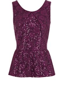 Oasis Sequin Lace Peplum Top - Lyst