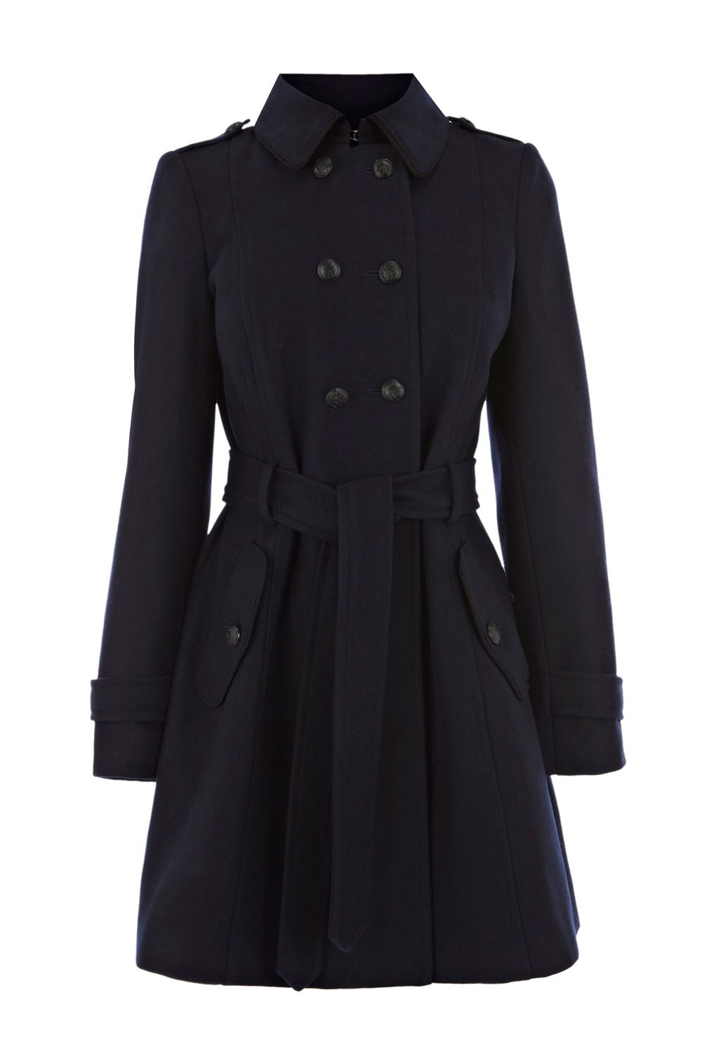 Oasis Military Pleat Back Coat In Blue Navy Lyst