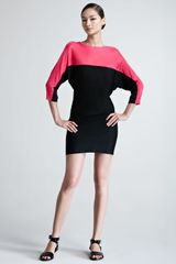 Ralph Lauren Black Label Colorblock Dolmansleeve Knit Dress - Lyst