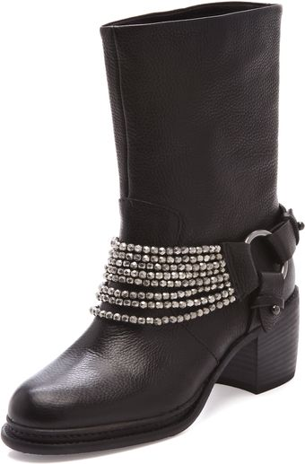Vera Wang Natasha Biker Booties with Chain and Buckles - Lyst