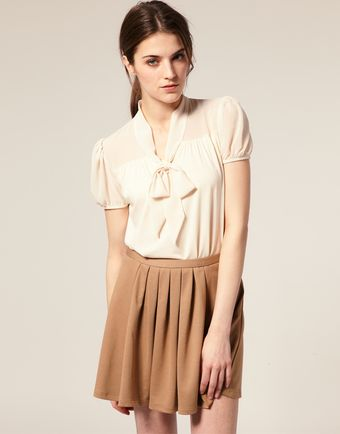 ASOS Collection Short Sleeve Chiffon Mix Pussy Bow Blouse - Lyst
