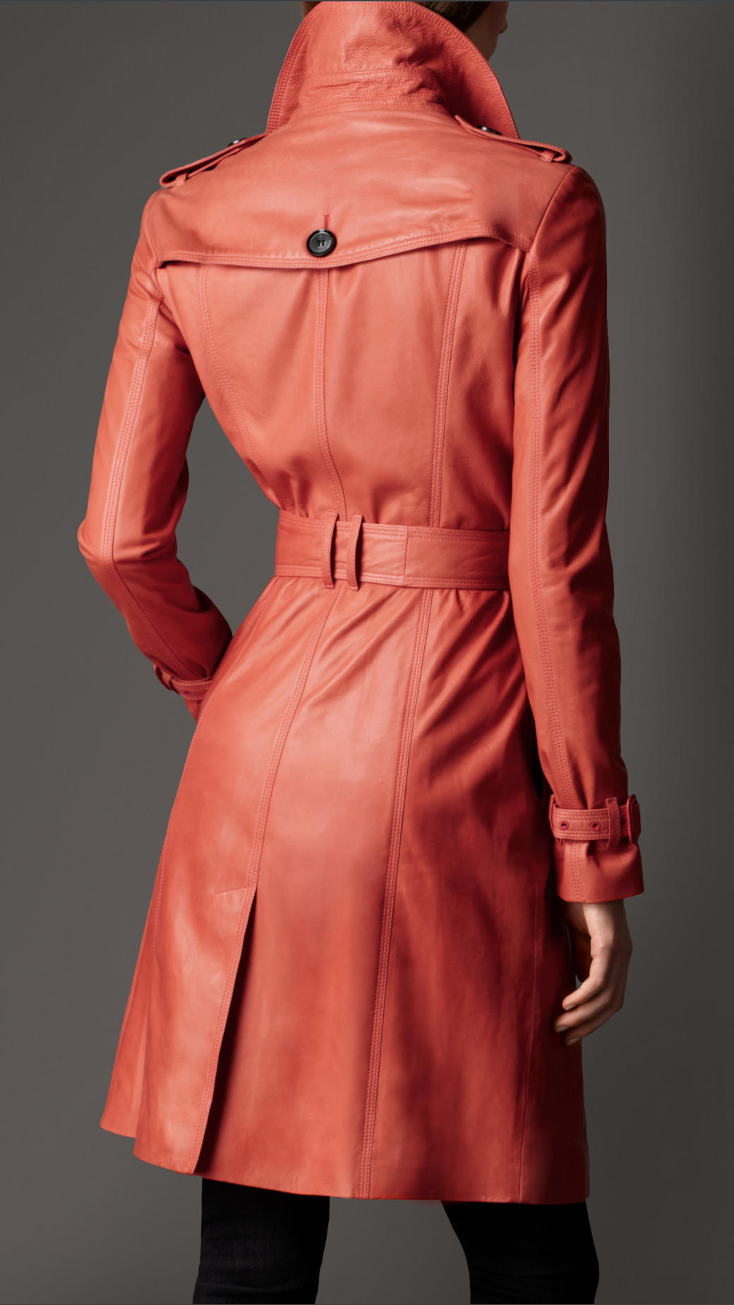 Lyst Burberry Long Lambskin Trench Coat In Red