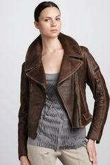 Donna Karan New York Leather Motorcycle Jacket - Lyst