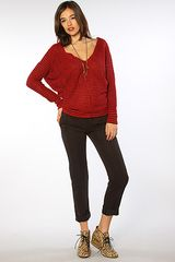 Free People The Bumblebee Stripe Pullover in Red Combo in Red - Lyst