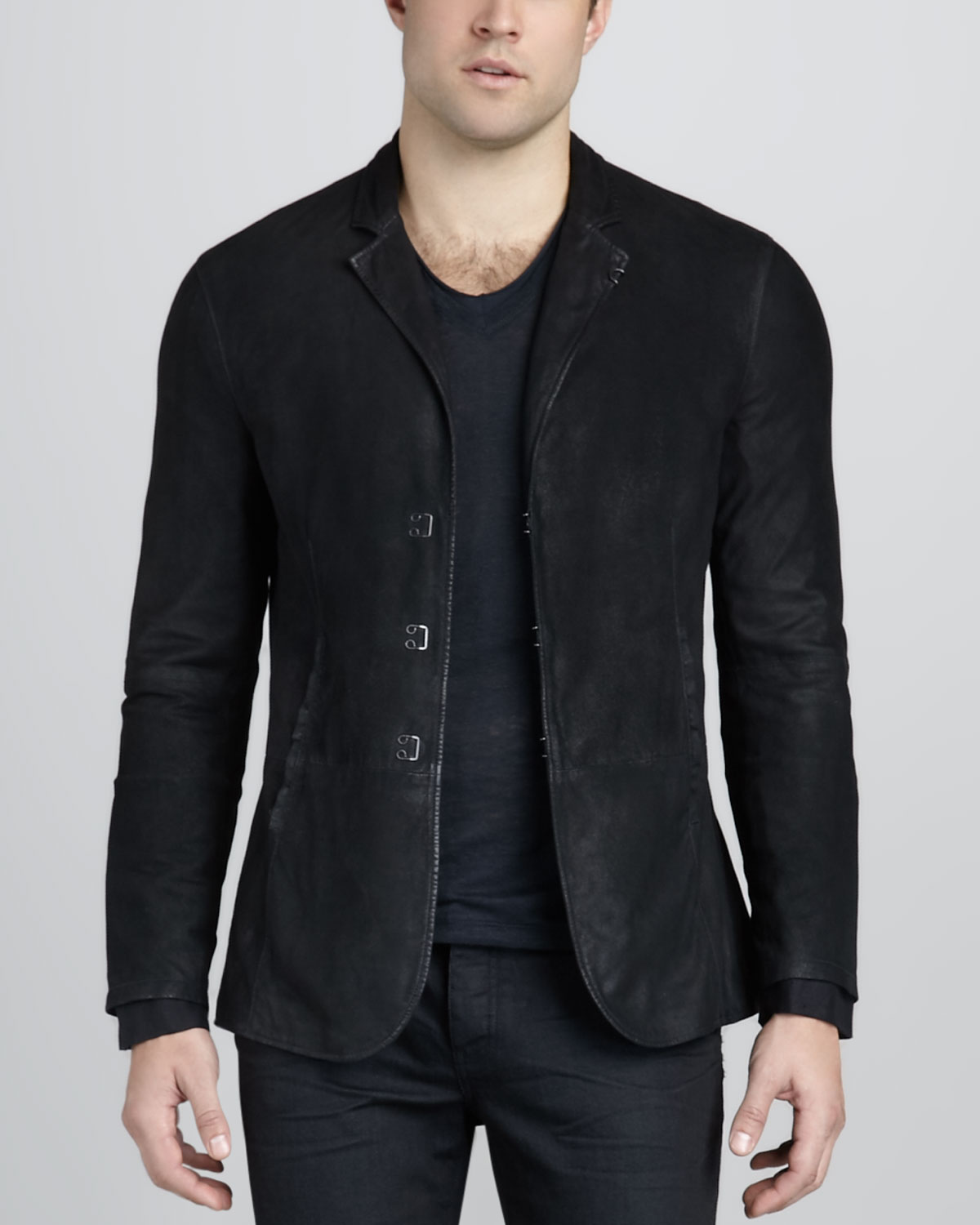john varvatos suede hookandbar jacket in black for men lyst