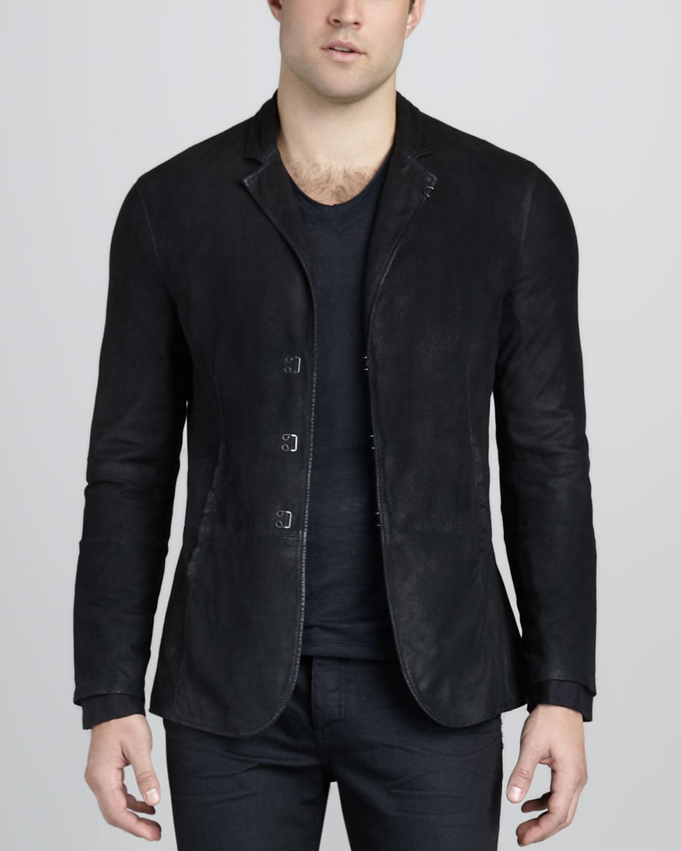 john varvatos suede hookandbar jacket in black for men lyst