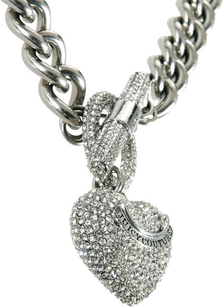 Juicy couture pave heart toggle necklace in silver for Juicy couture jewelry necklace