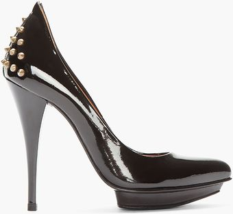 McQ by Alexander McQueen Black Patent Leather Studded Pumps - Lyst