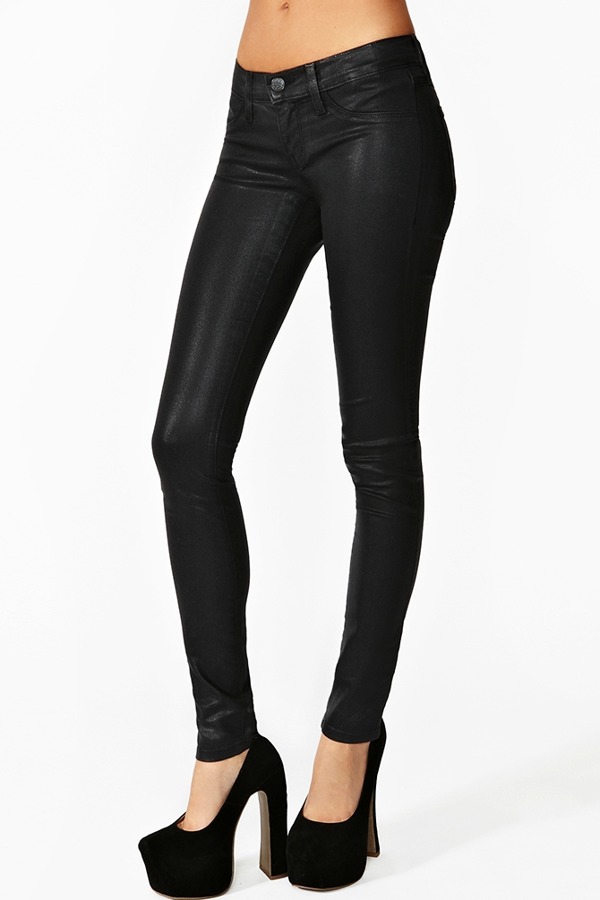 Spice Up Your Wardrobe With A Pair Of Sleek Black Coated Denim