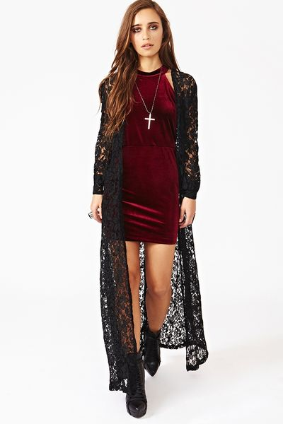 Nasty Gal Lana Lace Duster In Black Lyst