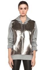 Neil Barrett Metallic Front Hoodie in Smoke Melange - Lyst