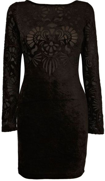 Oasis Velvet Burnout Dress - Lyst