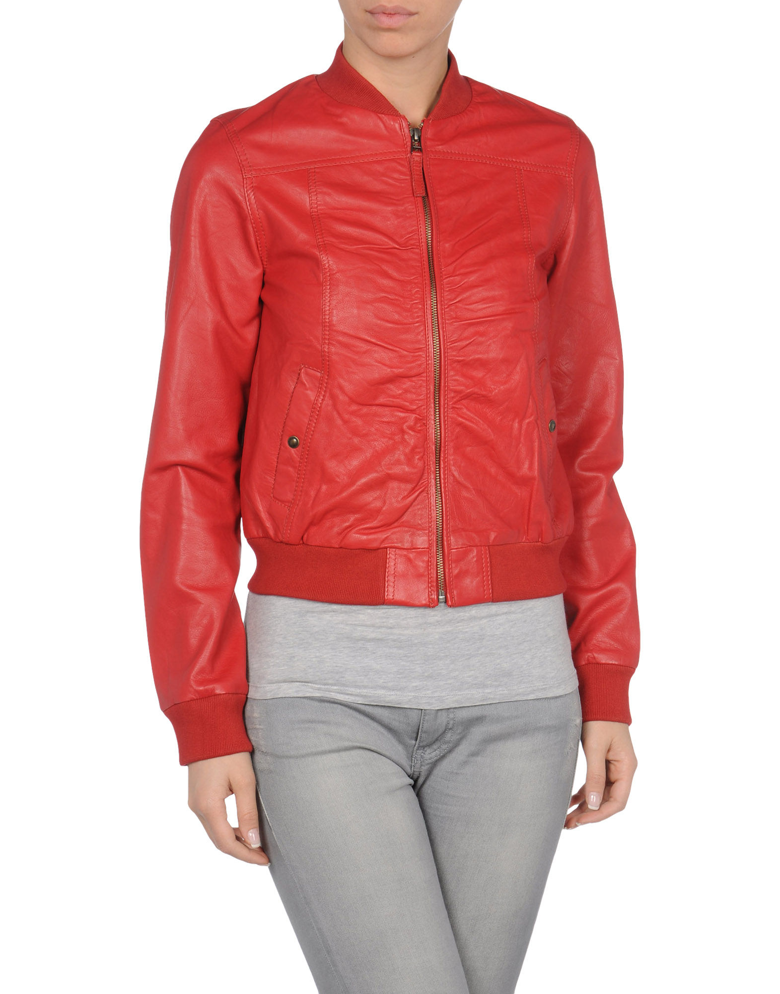 pepe jeans leather jacket in red lyst. Black Bedroom Furniture Sets. Home Design Ideas