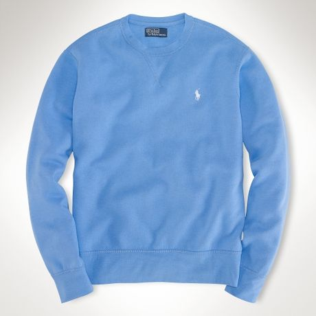 polo ralph lauren solid crewneck sweatshirt in blue for. Black Bedroom Furniture Sets. Home Design Ideas