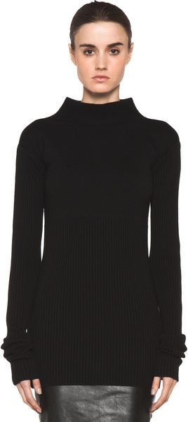 Rick Owens Tight Ala Long Sleeve Sweater in Black - Lyst