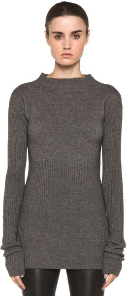 Rick Owens Tight Ala Long Sleeve Sweater in Light Grey - Lyst