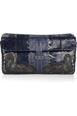 Bottega Veneta Doubleflap Cobra and Snakeskin Clutch - Lyst