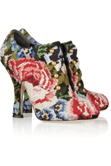 Dolce & Gabbana Tapestry and Leather Ankle Boots - Lyst
