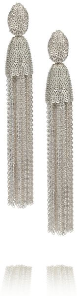 Oscar De La Renta Silver Tone Chain Tassel Clip Earrings in Silver - Lyst