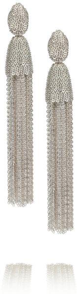 Oscar De La Renta Silver Tone Chain Tassel Clip Earrings in Silver