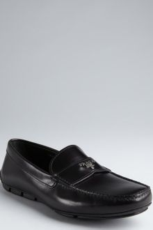 Prada Black Leather Slipon Loafers - Lyst