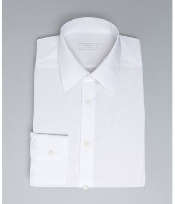 Prada White Cotton Point Collar Dress Shirt - Lyst