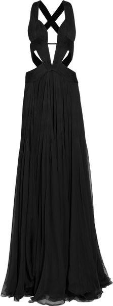 Roberto Cavalli Cutout Silkchiffon Gown in Black