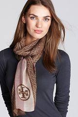 Tory Burch Allover T Scarf with Stripes - Lyst