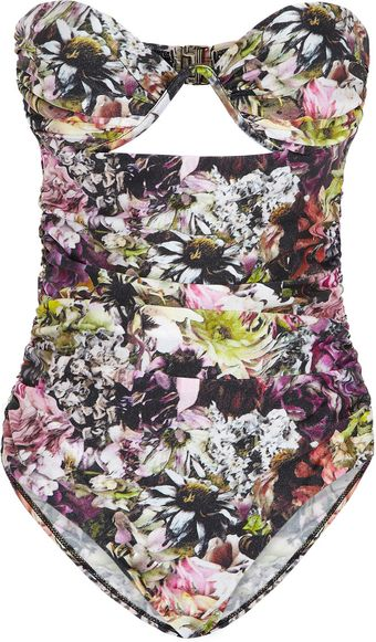 Zimmermann The Vase Printed Bandeau Swimsuit - Lyst