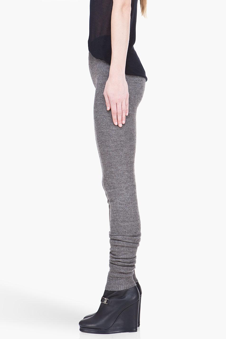 14b9cc589448e Rick Owens Grey Merino Wool Ala Leggings in Gray - Lyst