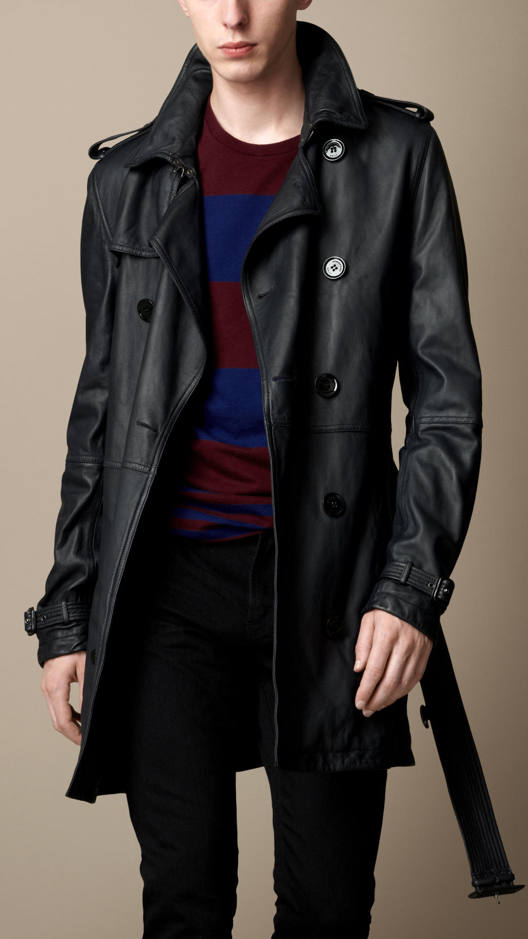 Burberry brit Midlength Leather Trench Coat in Blue for Men | Lyst