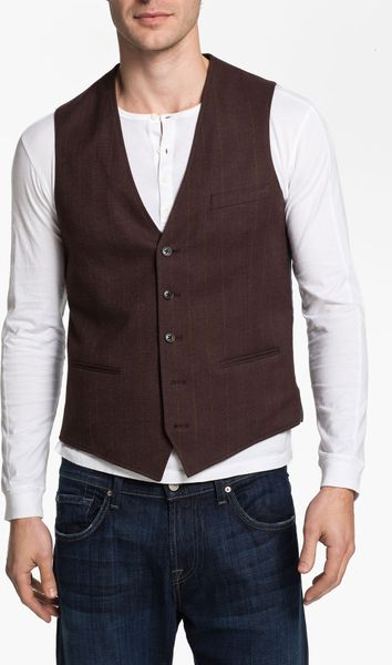 1901 Cotton Vest in Brown for Men (brown/bur stripe)