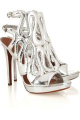 Alaïa Metallic Leather Sandals - Lyst
